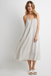 Forever 21 Mixed Stripe Maxi Dress Cream Grey