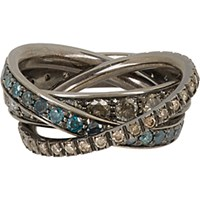 Roberto Marroni Women's Multi Diamond And Oxidized White Gold Triple Ring No Color