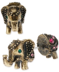 Betsey Johnson Brass Tone Elephant Front Back Stud Earrings Gold