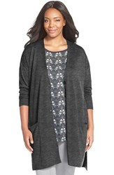 Plus Size Women's Sejour 'Core' Wool Blend V Neck Cardigan Grey Dark Charcoal Heather