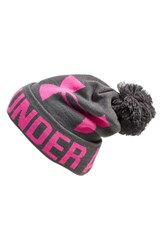 Women's Under Armour Logo Pompom Beanie Grey Carbon Heather Rebel Pink
