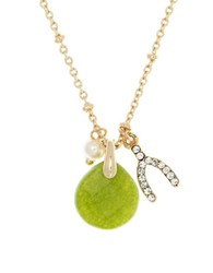 Lonna And Lilly 4Mm Faux Pearl Semi Precious Reconstituted August Birthstone Charm Necklace Green