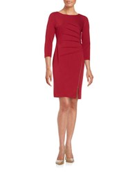Ivanka Trump Pleated Knit Sheath Dress Ruby Red