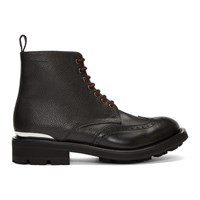 Alexander Mcqueen Black Pebble Grained Lace Up Boots