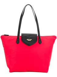 Twin Set Logo Plaque Contrast Tote Red
