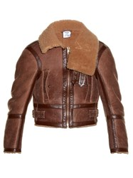 Vetements Shrunken Fit Shearling Aviator Jacket Light Tan