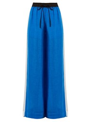 Diane Von Furstenberg Wide Leg Linen Blend Trousers Blue Multi