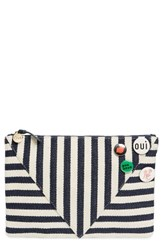 Clare V. Striped Clutch With Pins