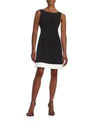 Vince Camuto Contrast A Line Dress Black White