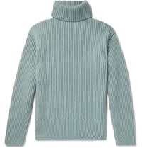 Tom Ford Ribbed Cashmere Rollneck Sweater Gray Green