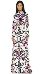 Msgm Long Sleeve Maxi Dress Pink Multi
