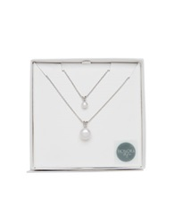 Honora Style Sterling Silver Pearl Mommy And Me Pendant Set White