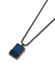 Topman Blue Gunmetal Look Trapped Stone Necklace