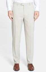 Santorelli Men's Big And Tall Flat Front Travel Trousers Beige