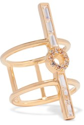 Elizabeth And James Eva Gold Tone Crystal Ring