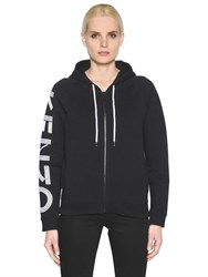 Kenzo Hooded Zip Up Cotton Jersey Sweatshirt