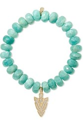 Sydney Evan 14 Karat Gold Amazonite And Diamond Bracelet One Size