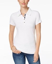 Charter Club Short Sleeve Polo Top Only At Macy's Bright White
