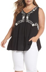 Angie Plus Size Embroidered Woven Tank Black