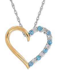 Macy's Blue Topaz 1 3 Ct. T.W. And Diamond Accent Heart Pendant Necklace In Sterling Silver And 14K Gold Two Tone