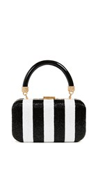 Alice Olivia Shirley Embroidered Stripes Clutch Black White