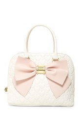 Betsey Johnson Quilted Heart Multi Compartment Dome Satchel White