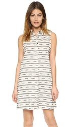 Alice Olivia Isabelle Sleeveless Shirtdress Off White Black