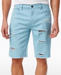 Lrg Men's On Deck Destroyed Denim Cotton Shorts Etherblue