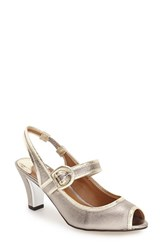 J. Renee Women's 'Nevern' Slingback Peep Toe Pump Taupe Gold