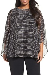 Eileen Fisher Plus Size Women's Streaky Plaid Crinkled Silk Poncho