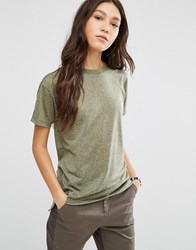 Asos Linen Mix T Shirt Khaki Green