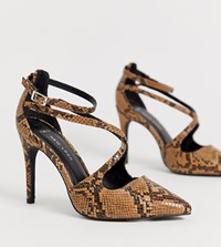 New Look Wide Fit Strappy Heel In Snake Brown Pattern