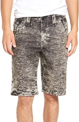 Rock Revival Men's Acid Wash Chambray Shorts Black