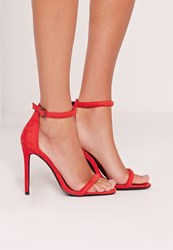 Missguided Rounded Strap Barely There Sandal Red Red