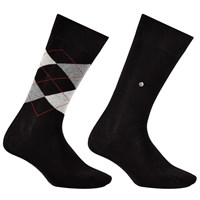 Burlington Argyle Plain Short Socks One Size Pack Of 2 Black