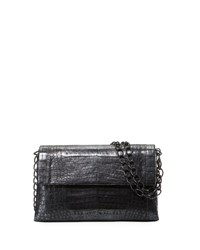 Nancy Gonzalez Metallic Crocodile Double Chain Shoulder Bag Black