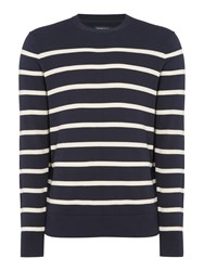 Howick Men's Breton Stripe Crew Neck Jumper Navy
