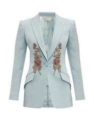 Alexander Mcqueen Embroidered Single Breasted Wool Blend Blazer Light Blue