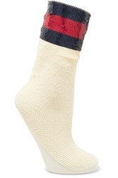 Gucci Striped Sequined Stretch Mesh Socks Ivory