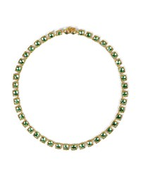 Larkspur And Hawk Bella Mini 18K Yellow Gold Washed Button Riviere Necklace Grass Green