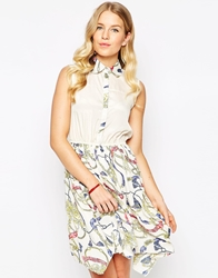 Pussycat London Shirt Dress With Contrast Skirt White