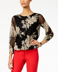 Alfani Petite Embroidered Lace Top Created For Macy's Soft Clay