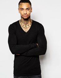 Asos Extreme Muscle Long Sleeve T Shirt With V Neck In Black