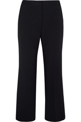 Stella Mccartney Cropped Stretch Wool Pique Flared Pants Midnight Blue