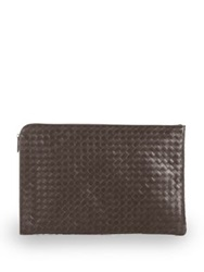 Bottega Veneta Intrecciato Leather Document Case Dark Brown