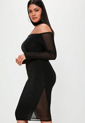 Missguided Plus Size Black Bardot Slinky Mesh Panel Dress