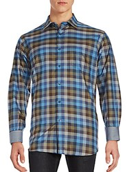 Bugatchi Long Sleeve Woven Button Down Shirt Classic Blue