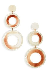 Leith Resin Double Circle Drop Earrings Gold Blush