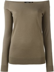 Theory Boat Neck Jumper Green