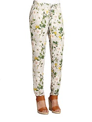 Joie Theron Printed Silk Track Pants Light Floral